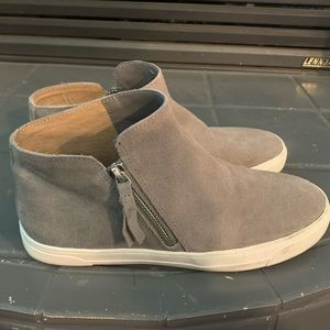 Grey leather zip up boots